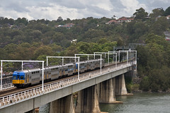 A V-Set heads south towards Wollongong over The Como Bridge