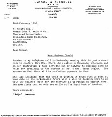 Letter from crooked lawyer Nigel Hall to crooked accountant Norman Howitt