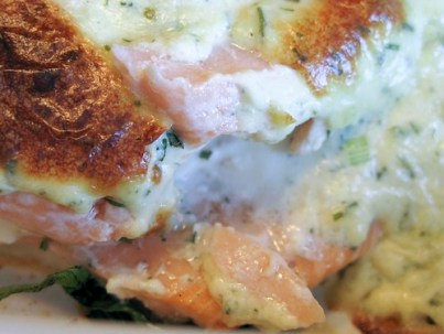 smothered, herbed goat cheese stuffed Salmon...