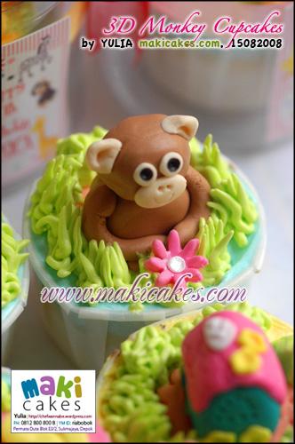 3D Monkey Cupcakes 2 - Maki Cakes