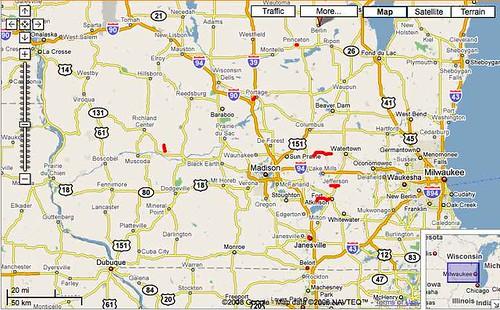 WisDOT closed road map on June 27