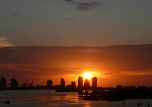 Miami Beach and Port of Miami Skyline