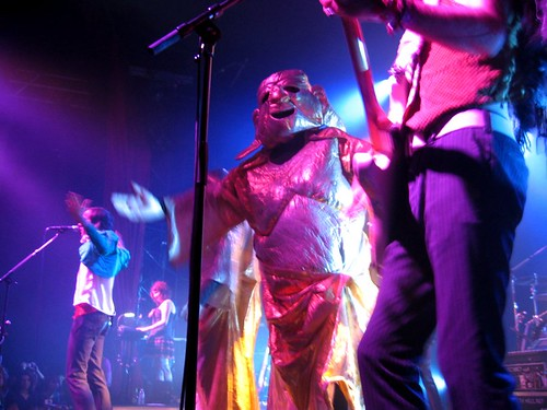 Gold Buddhas storm through the Of Montreal stage.