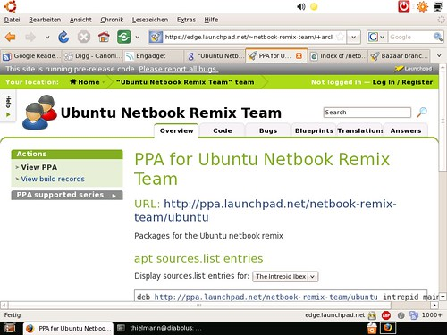 Netbook Remix Firefox e executando em 800x600