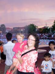 Tash & Ang dodging spray at the fountain