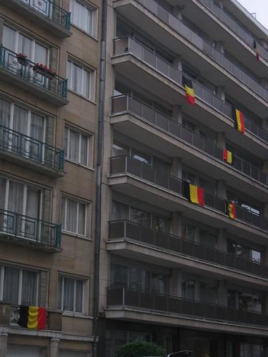 Belgian flags in Brussels
