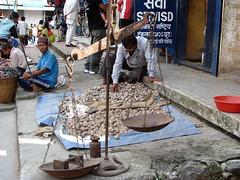 Venta de cereales, en el mercado nuevo, Pokara