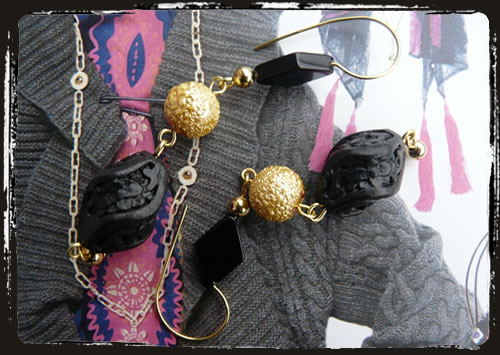 Orecchini neri lacca - Black cinnabar earrings MEHNDLA