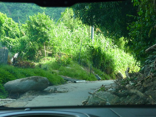 Debris and rocks on a mountain road