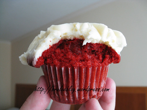 Red velvet cupcake with cream cheese