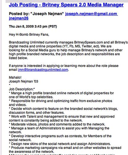 Britney Spears Job Posting