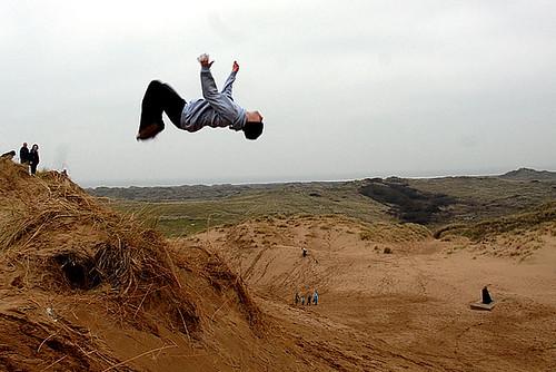 Sand dune back flips