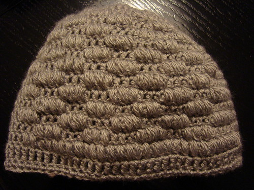 Crocheted puff hat