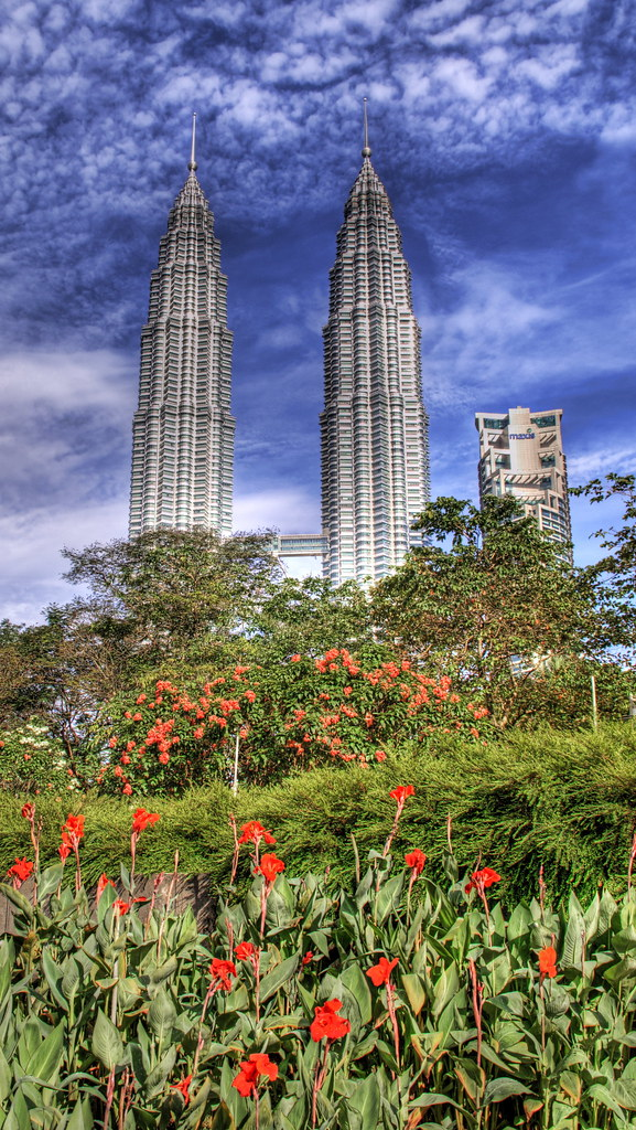 The Petronas Towers and the Lake Garden