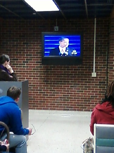 Watching Obama's speech at the University Center at UCO