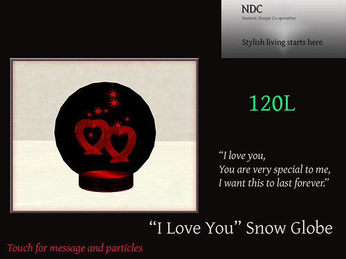 I Love You snow globe