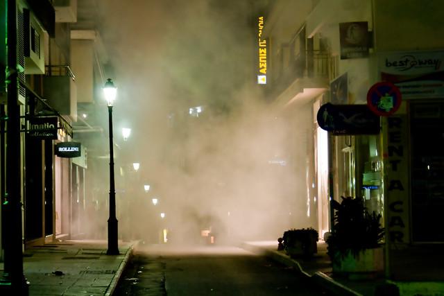 Riots in Greece (Dec 2008) Tear Gas