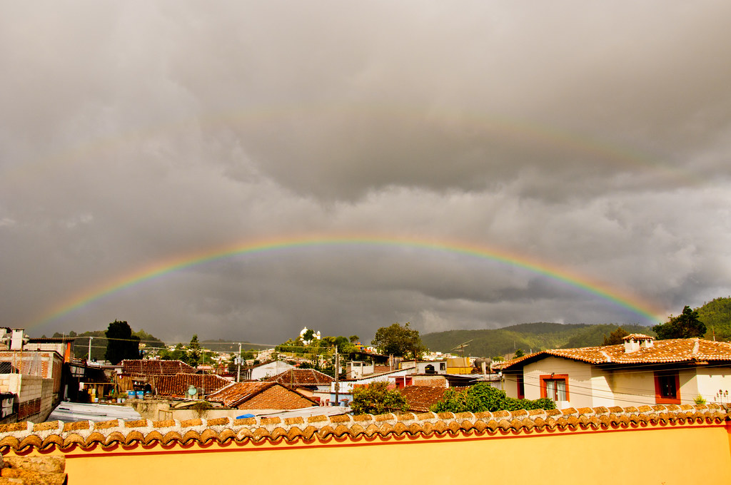 A rainbow from the roof of our casita