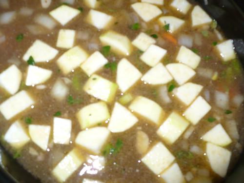Stew with zucchini.