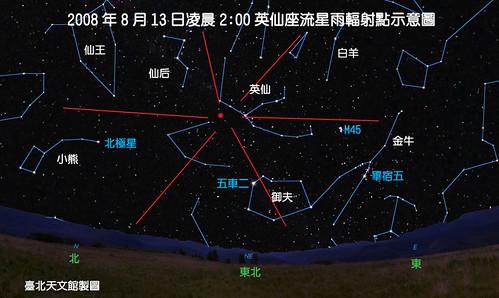 00英仙座流星雨輻射點示意圖