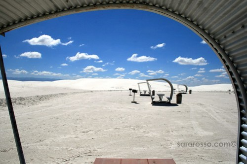 Picknic tables for lunch stops at White Sands National Monument