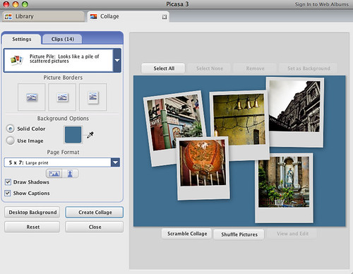 Collage Settings in Picasa for Mac