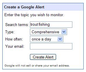 Google Reader - Create Google Alert