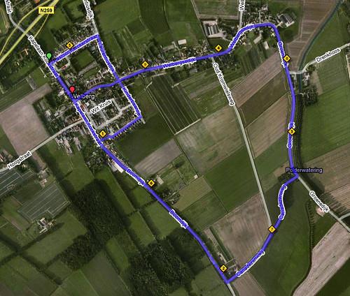 Volledig parcours 10 km van Groot-Steenbergen