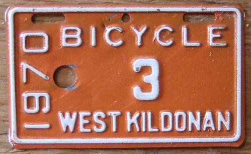MANITOBA, WEST KILDONAN 1970 BICYCLE LICENSE plate