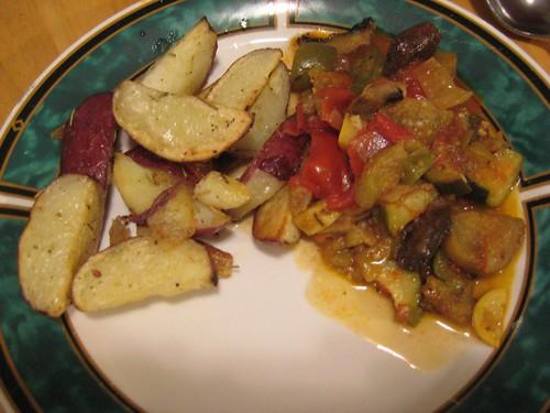 Ratatouille and roasted potatoes