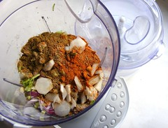 Chopped ingredients for red curry paste