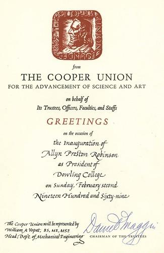 Inauguration Congratulations from Cooper Union