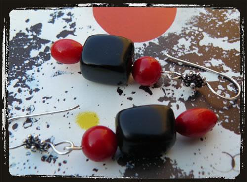 Orecchini fatti a mano onice corallo - Black Red Handmade Earrings  AMHCONCOR