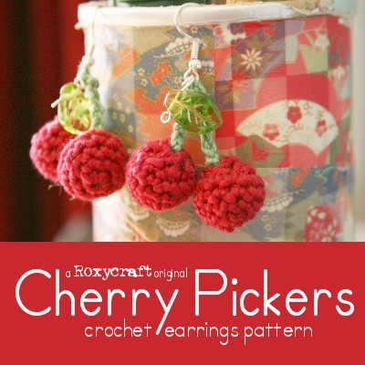 Free Pattern Cherry Pickers Crochet Cherry Earrings Roxycraft Blog