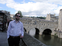 Paul in front of Pulteney Bridge (and River Avon)