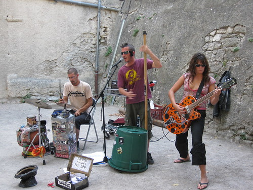 Rock Band Playing by the Weekly Farmers/Craft Market in the Town of Forcalquier