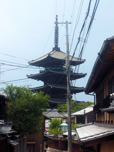 Pagoda and wires