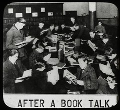 Work with schools : after a book talk, showing boys gathered...