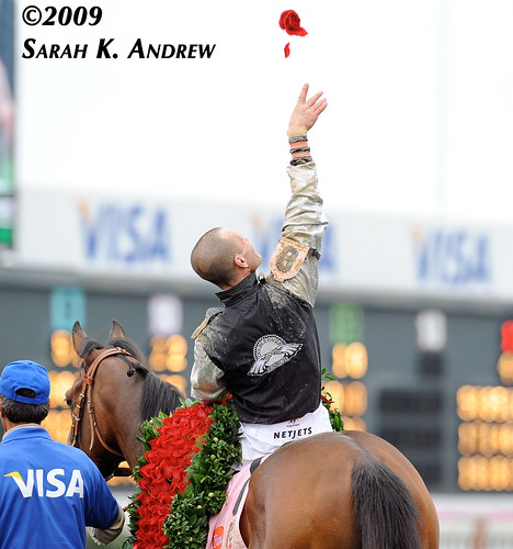 One Rose Salute: Calvin Borel and Mine That Bird after winning the Kentucky Derby