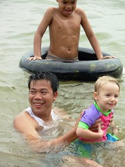 Tash swimming with Phnom Penh tourists