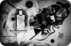 Wassily Kandinsky. Amarillo- rojo- azul. Oleo sobre lienzo. 1925.