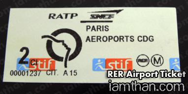 RER Airport Ticket ตั๋วรถด่วนไปสนามบิน