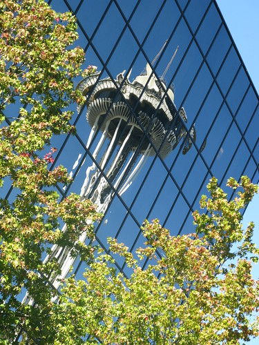 Space Needle Reflection in a Seattle Building