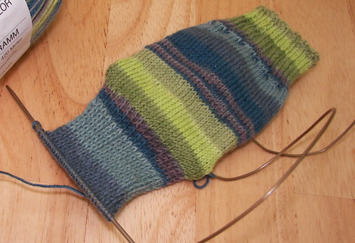 Outside heel flap, looking good, and knitting up fast!