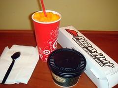 orange slushi, broccoli cheddar soup, bread sticks