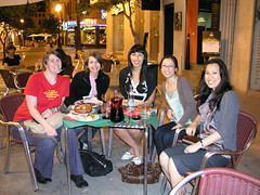 Out for tapas in Valencia, Carmen, Lucja, Mireille, Ling and Sing.