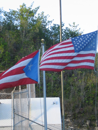 The two official flags in Puerto Rico