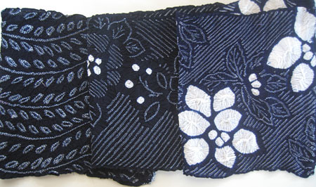 3 pieces indigo shibori cotton
