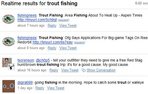 Google Reader - Summize Results For Trout Fishing