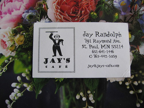 jays cafe business card